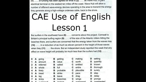 cae   english lesson  youtube