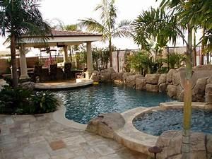 small backyard decks Pool Tropical with none