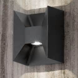eglo morino black cube led up and down wall light wall