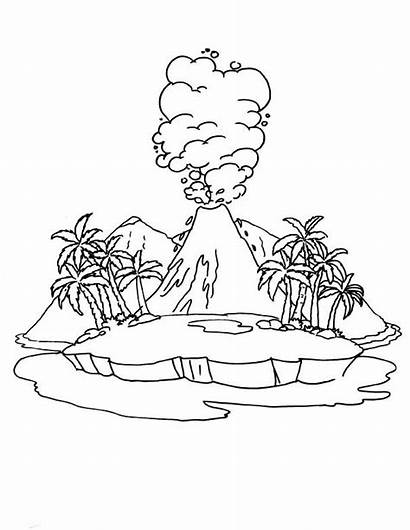 Volcano Colouring Pages Drawing Active Coloring Diagram