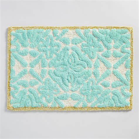 world market bath rugs aqua floral tile tufted bath mat world market