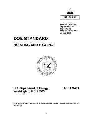 Fillable Online energy DOE-STD-1090-2011, Hoisting and