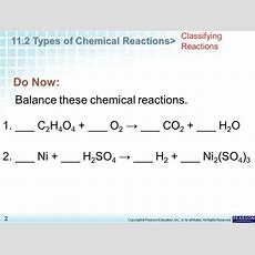 Chapter 11 Chemical Reactions 112 Types Of Chemical Reactions  Ppt Video Online Download
