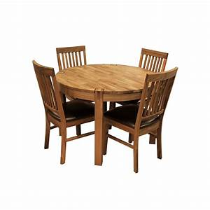 Glasswells royale round dining table and 4 bicast leather for Breakfast table chairs round