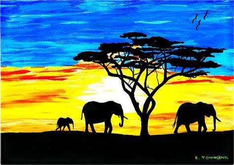 elephant silhouette sunset painting elephant sunset painting best elephant 2017