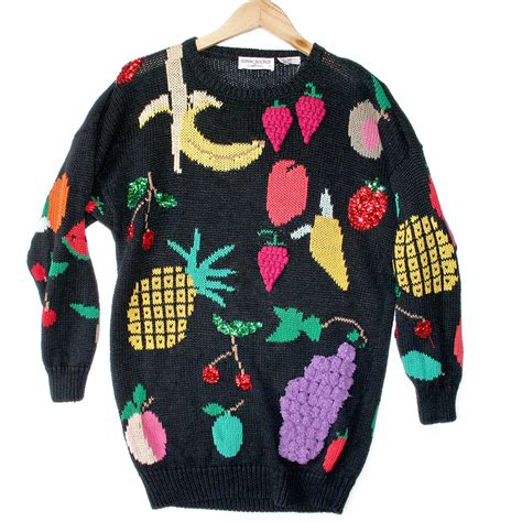 igly sweater vintage 90s oversized bedazzled fruit sweater the
