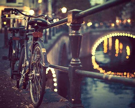 Amsterdam Photography Bicycle Art Blue Black Night