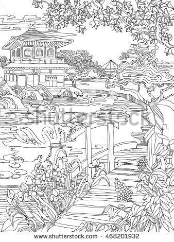 Coloring pages . Japanese house on the river bank