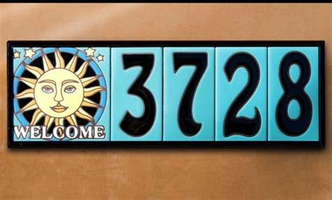 house numbers 3 quot x 6 quot ceramic address tile turquoise