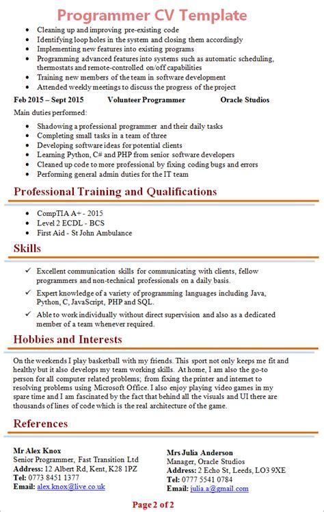 Programmer Curriculum Vitae Template by Programmer Cv Template 2