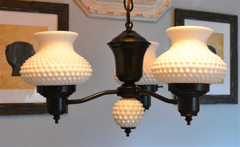 hobnail milk glass chandelier by threebrevival on etsy