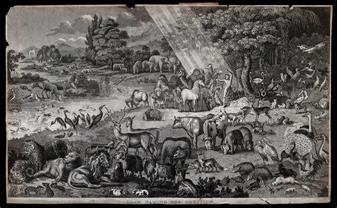 adam names  animals   garden  eden etching