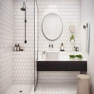 Petite Salle De Bain Avec Douche Italienne : total look carrelage blanc dans une petite salle de bain ~ Carolinahurricanesstore.com Idées de Décoration