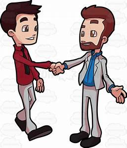 Cartoon Clipart: Two Colleagues Greeting Each Other
