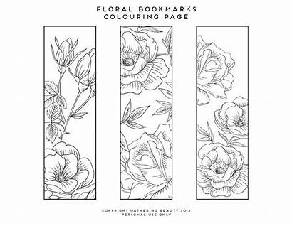 Bookmarks Printable Colouring Pages Flower Coloring Adults