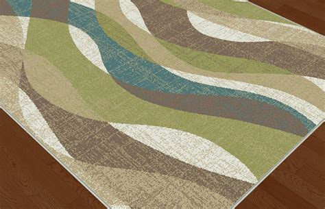 Ivory Contemporary Stripes Area Rug Multi-color Abstract