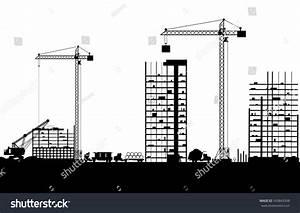 Construction Site Buildings Cranes Skyscraper Under Stock ...