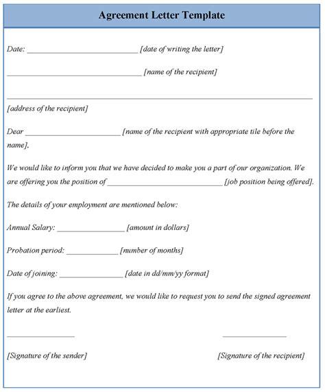agreement letter template  agreement letter sample