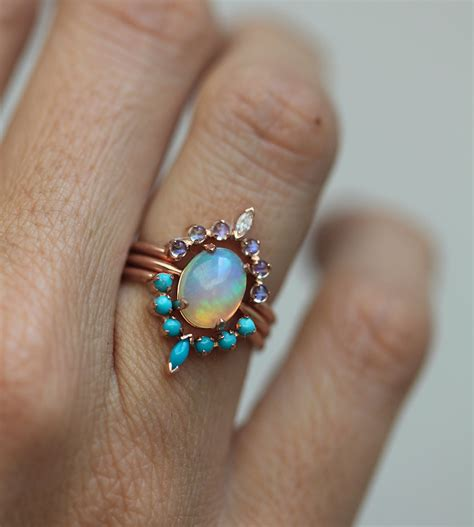 ocean engagement ring solitaire fire opal with moonstone