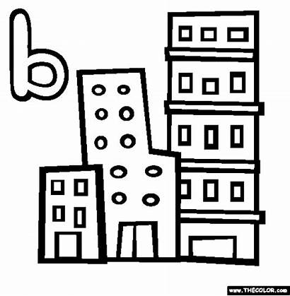 Coloring Pages Alphabet Building Buildings Tall Short