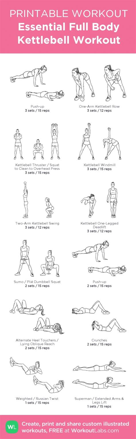 kettlebell workout printable body exercises pdf gym illustrated workouts essential fitness challenge workoutlabs motivation kettle routines veritymag exercise weight routine