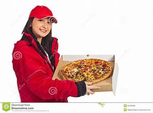 Smiling Pizza Delivery Woman Stock Image - Image of ...