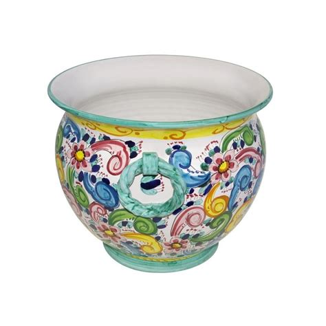 italian ceramic planter large hand painted handcrafted