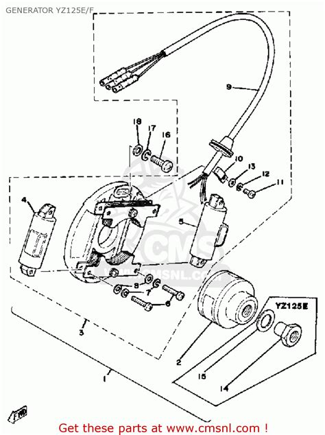 yamaha yz125 competition 1978 usa generator yz125e f schematic partsfiche