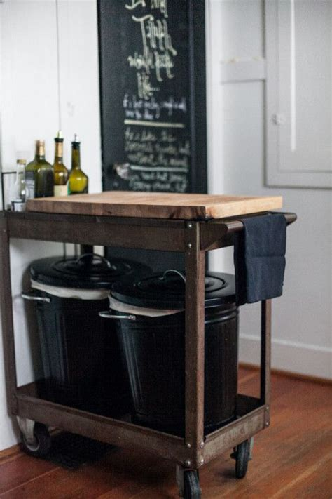 kitchen cart with trash bin thrifted repurposed cart on casters w ikea butcher top