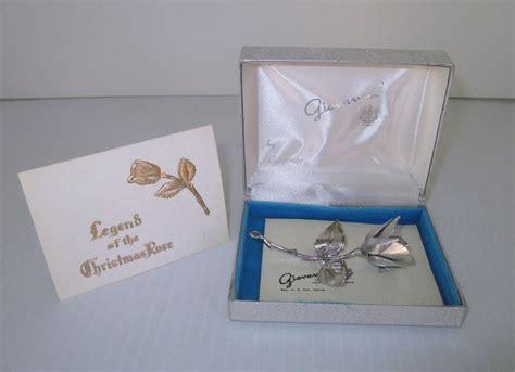giovanni legend   christmas rose silver lapel brooch