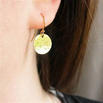 Hammered Earrings Disc Gold Rolled Notonthehighstreet