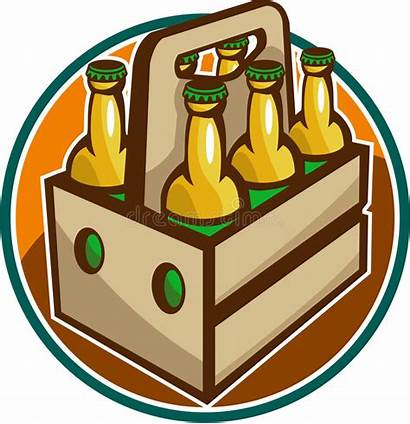 Beer Pack Clipart Bottle Six Retro Crate