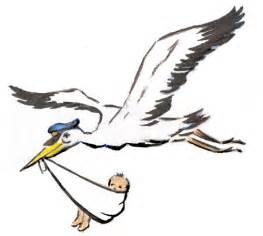 Cartoon Stork Delivering Babies