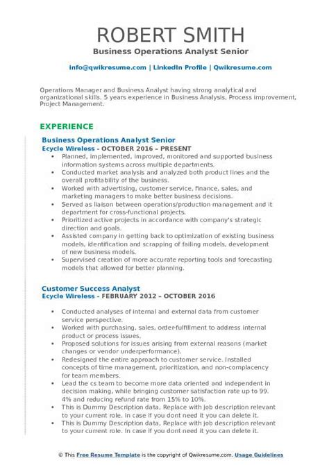 Resume Creation Pdf by Business Operations Analyst Resume Sles Qwikresume