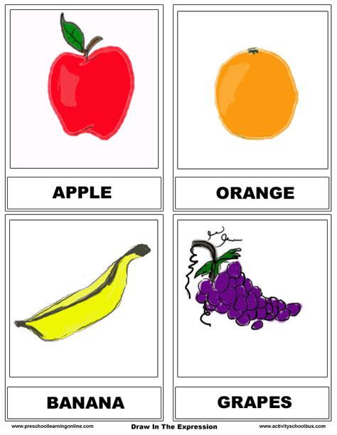 Food Flashcards & Fruit Cards For Kids  Preschool Learning Online