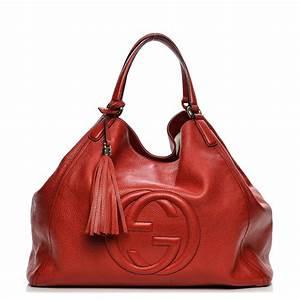 GUCCI Pebbled Calfskin Large Soho Shoulder Bag Red 200444