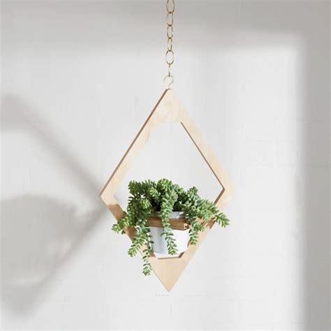angular planter decor wooden hanging planter
