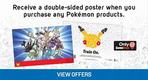 a pokemon product at gamestop on saturday a double sided poster
