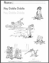 Diddle Hey Rhyme Coloring Fiddle Cat Nursery Printable Sheet Worksheet Worksheets Featuring Illustrations Children sketch template