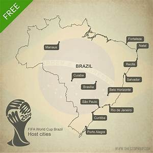 Free Vector Map of Brazil World Cup 2014 | One Stop Map
