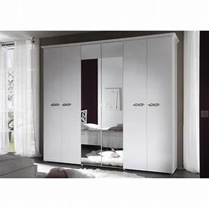 Armoire 6 Portes : armoire design 6 portes 2 miroirs laqu e blanche estelle ~ Teatrodelosmanantiales.com Idées de Décoration