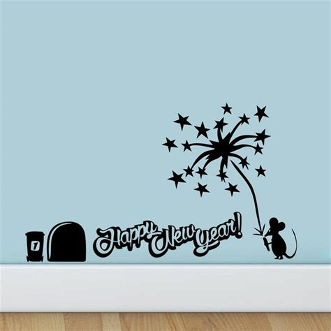 happy new year wall sticker mouse light fireworks