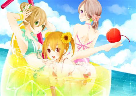 yuzu swimsuit ahira yuzu bikini brown hair drink original swimsuit