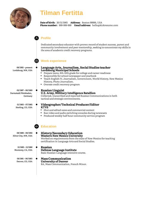 resume examples  real people social studies teacher