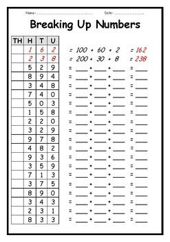 breaking  numbers  place  worksheets  teaching