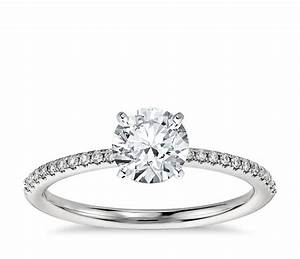 Petite micropave diamond engagement ring in platinum 1 10 for Dimond wedding ring