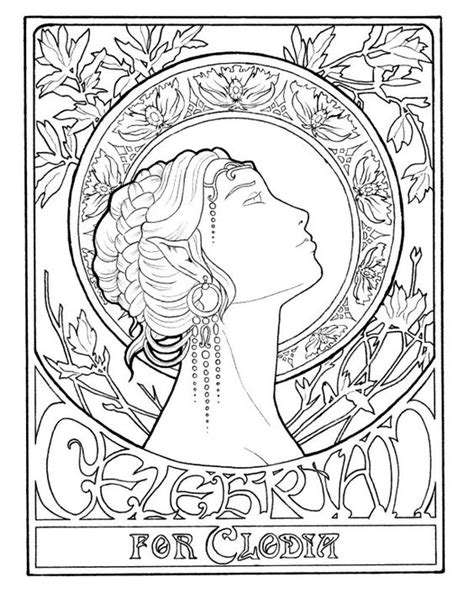 Jugendstil Kleurplaat by Dessin Vrouw Nouveau Stijl Tekening Kleurplaat