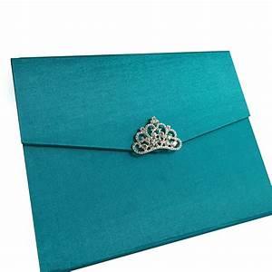 Light teal color luxury silk pocket fold design for for Wedding invitation folded envelopes