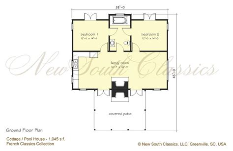 pool guest house plans south classics guest cottage