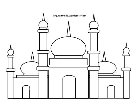 masjid drawing coloring pages